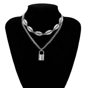 Silver Multi Layer Lover Lock Sea Shells Necklace